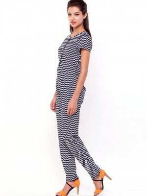 KOOVS Button Front Zig Zag Print Jumpsuit In The Style Of ...