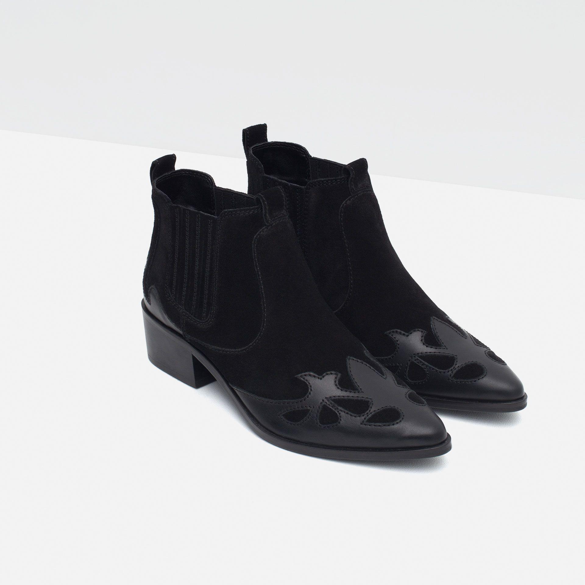 Bottines Cow Boy À Talons En Cuir Chaussures Trf Collection Ss16 Lederschuhe Damen Stiefel Stiefeletten Damen