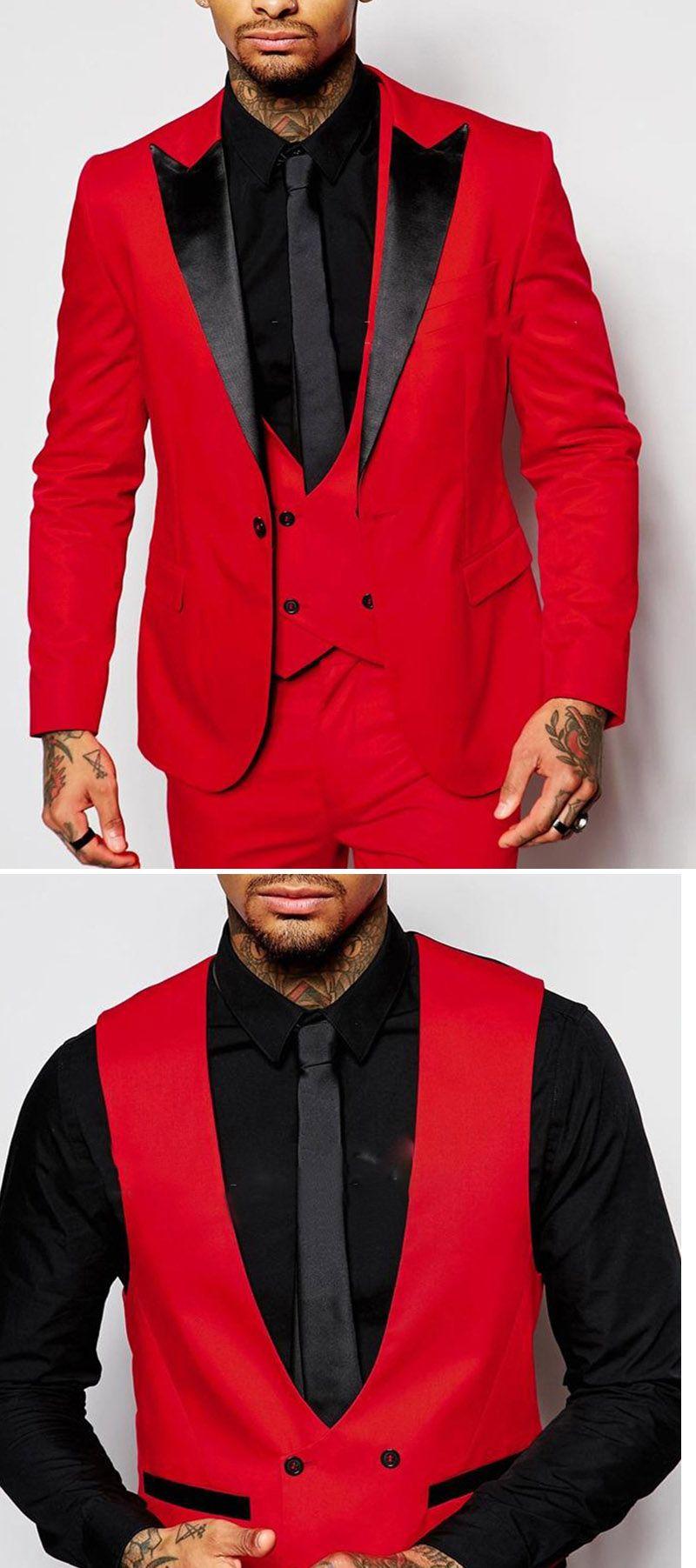 red and black prom suit peak lapel three pieces men suit