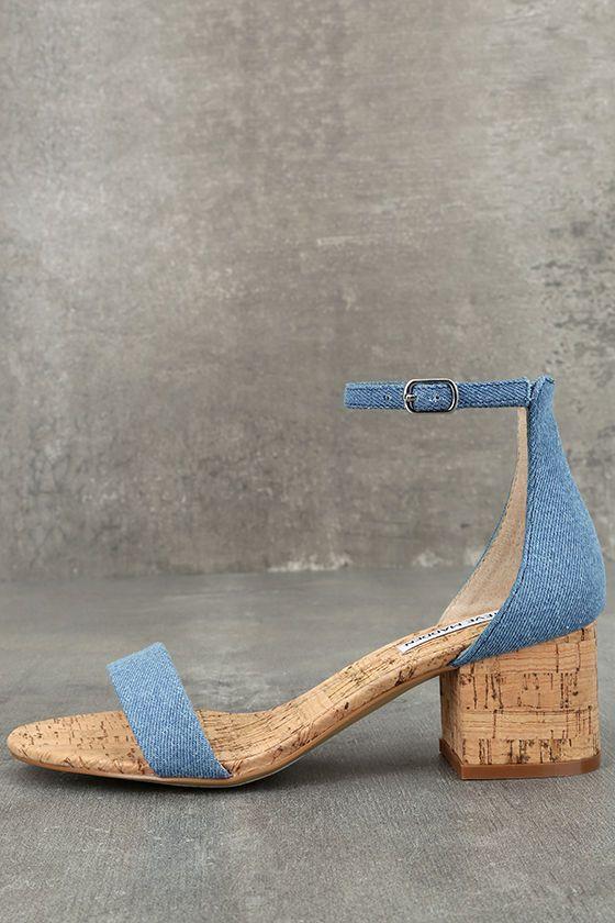 Steve Madden Irenee C Denim Cork Ankle Strap Heels ba48d488b7b8