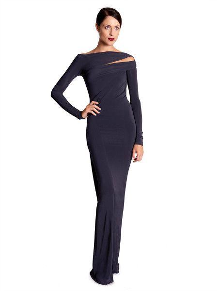 6609233aeab Donna Karan New York Long Sleeve Slash Neck Gown in Purple (DARK NAVY) -  Lyst jaglady