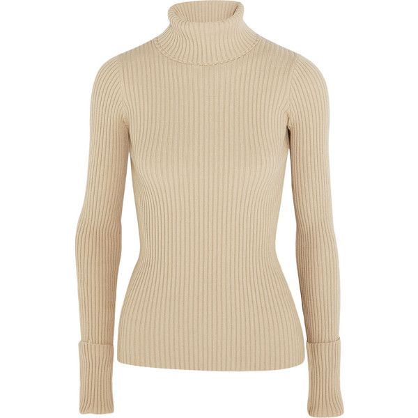 Jacquemus Ribbed stretch-knit turtleneck sweater ($335) ❤ liked ...