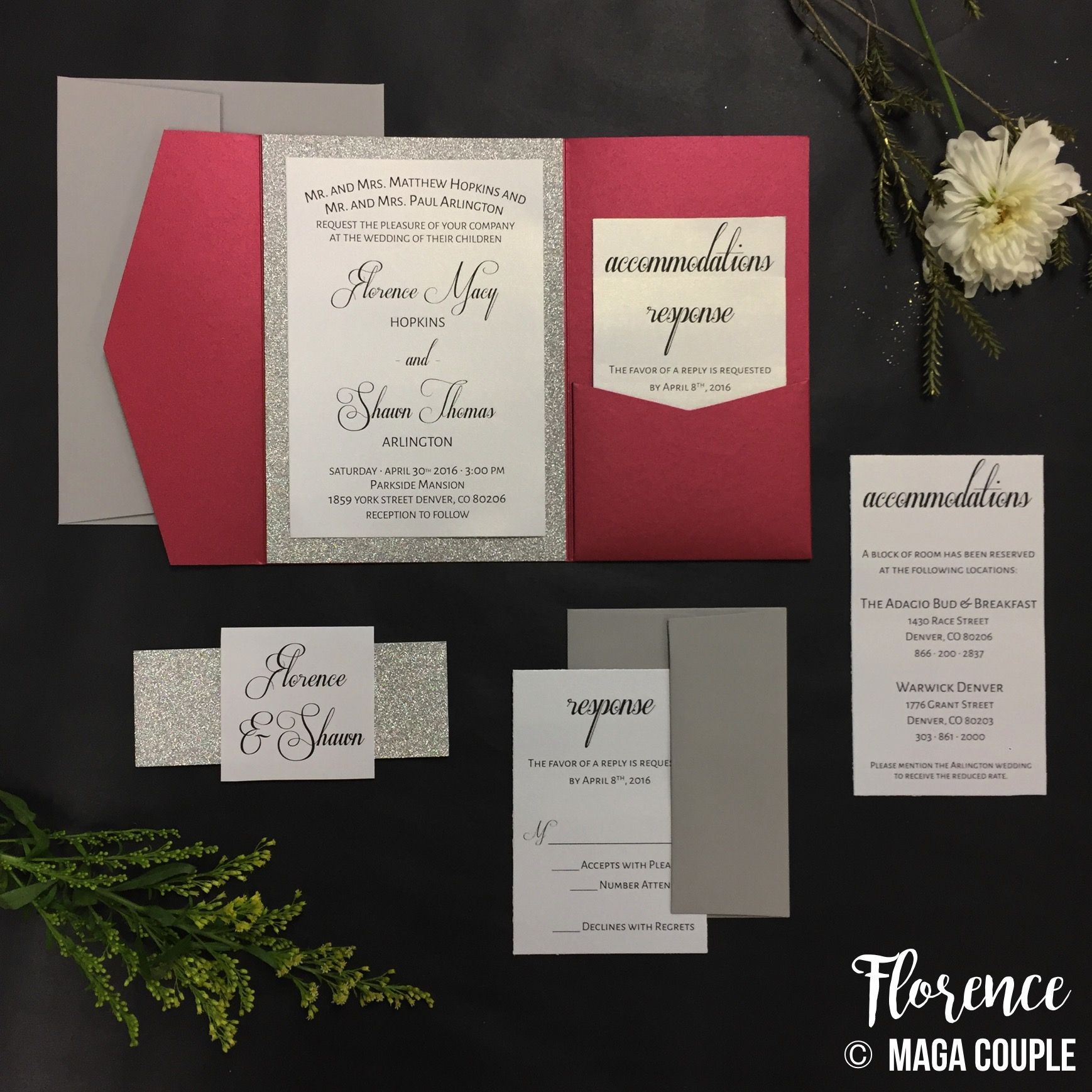 Pocket Invitation - Wedding Invitation - Burgandy and Silver - Red ...