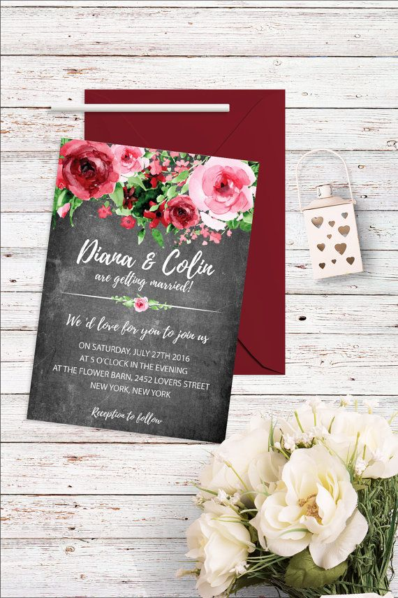 Floral Chalkboard Wedding Invitation Flower by BohemePrints I Do
