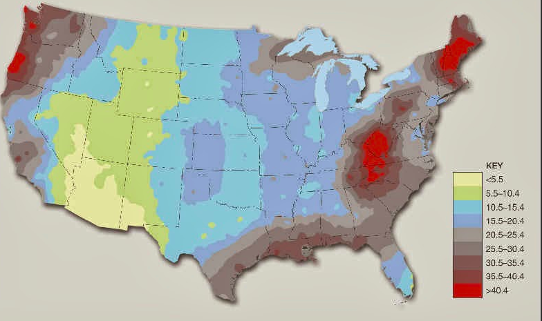 Map of fog frequency in the U.S. | Meteorology | Map, Geography, Weather