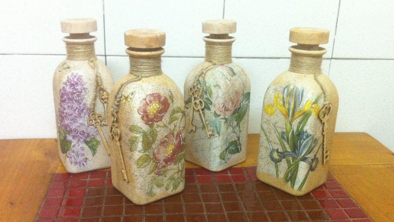 Pin De Aurea Acevedo En Taller Contusmanos Botellas Con Decoupage Botellas De Vidrio Arte De Botella