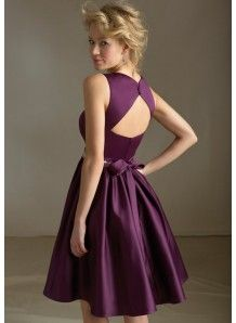 Modern A-Line V-neck Natural Waist Beading Short/Mini Satin Bridesmaid dress WPBD-9710