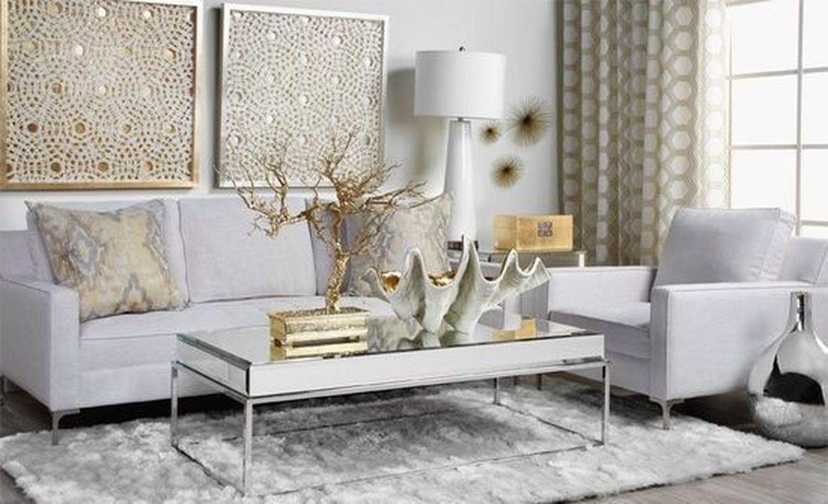 Living Room Decor Silver Gold Wallpaper Beige