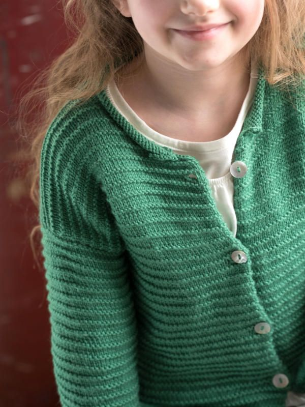 Free Knitting Pattern for a Ridge Stitch Kid's Cardigan