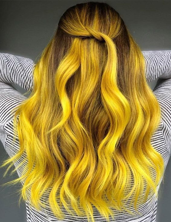 Fascinating Yellow Hair Color Highlights For 2019 Voguetypes Hair Styles Yellow Hair Color Long Hair Styles