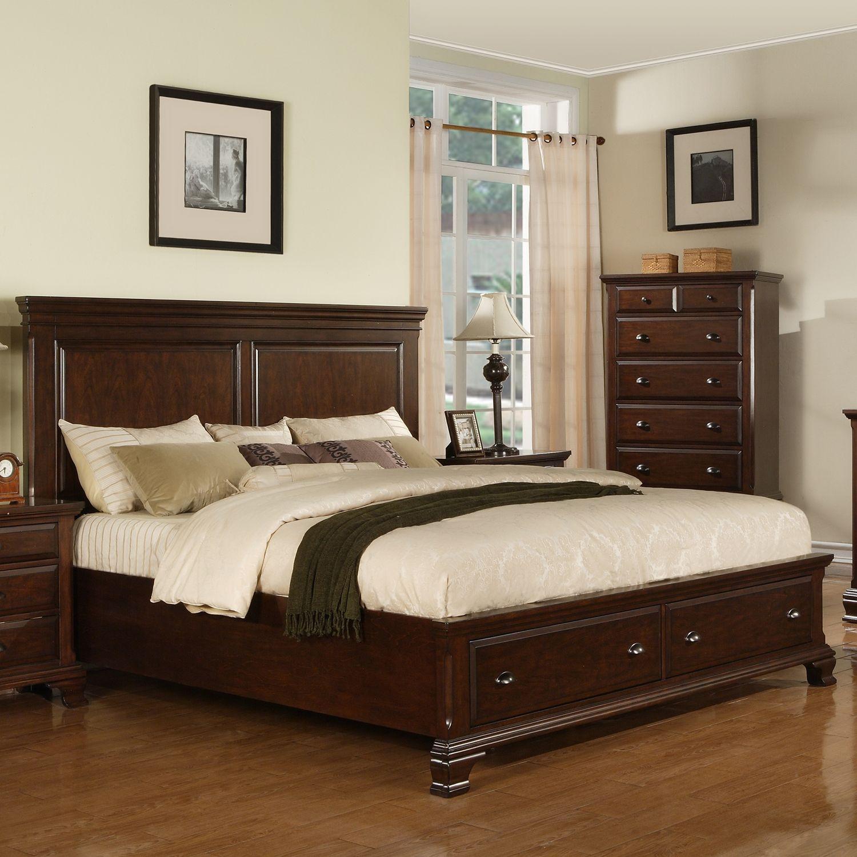 Brinley Cherry Storage Bed Choose Size King Storage Bed