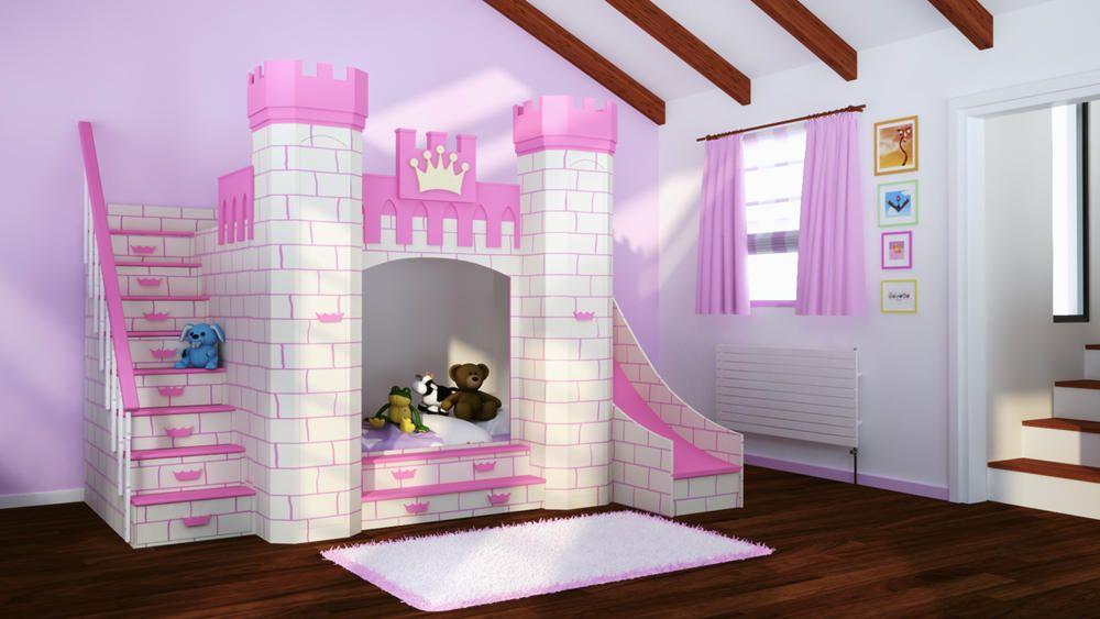 Cama castillo para princesas habitaciones for Cuartos de princesas