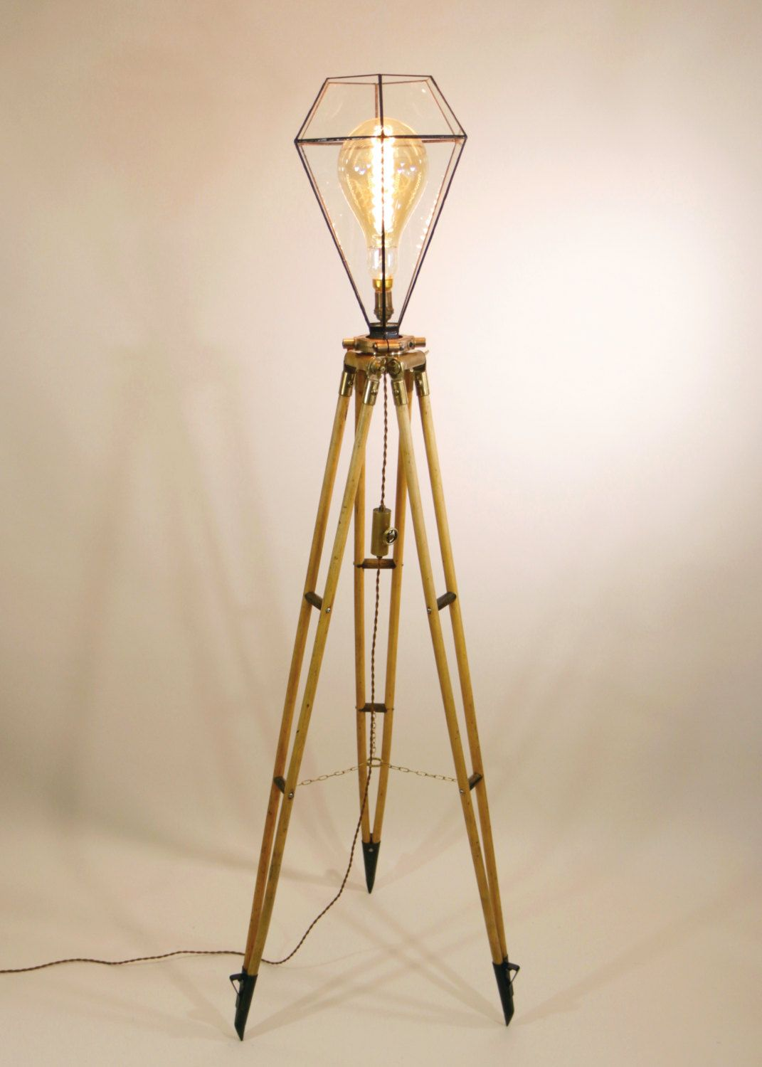 Vintage surveyor39s tripod floor lamp surveying stand lamp for Oak floor lamp stand