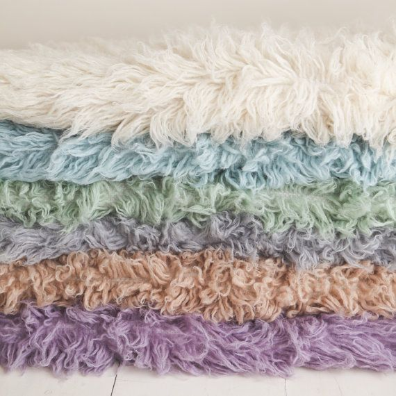 Hand dyed real wool flokati rug in a 3x5 size perfect newborn photography prop