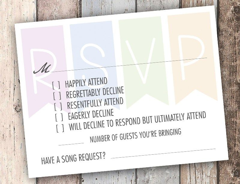 invitation wordings for wedding by bride and groom%0A I u    ve seen tons of variations on this funny RSVP card around the web