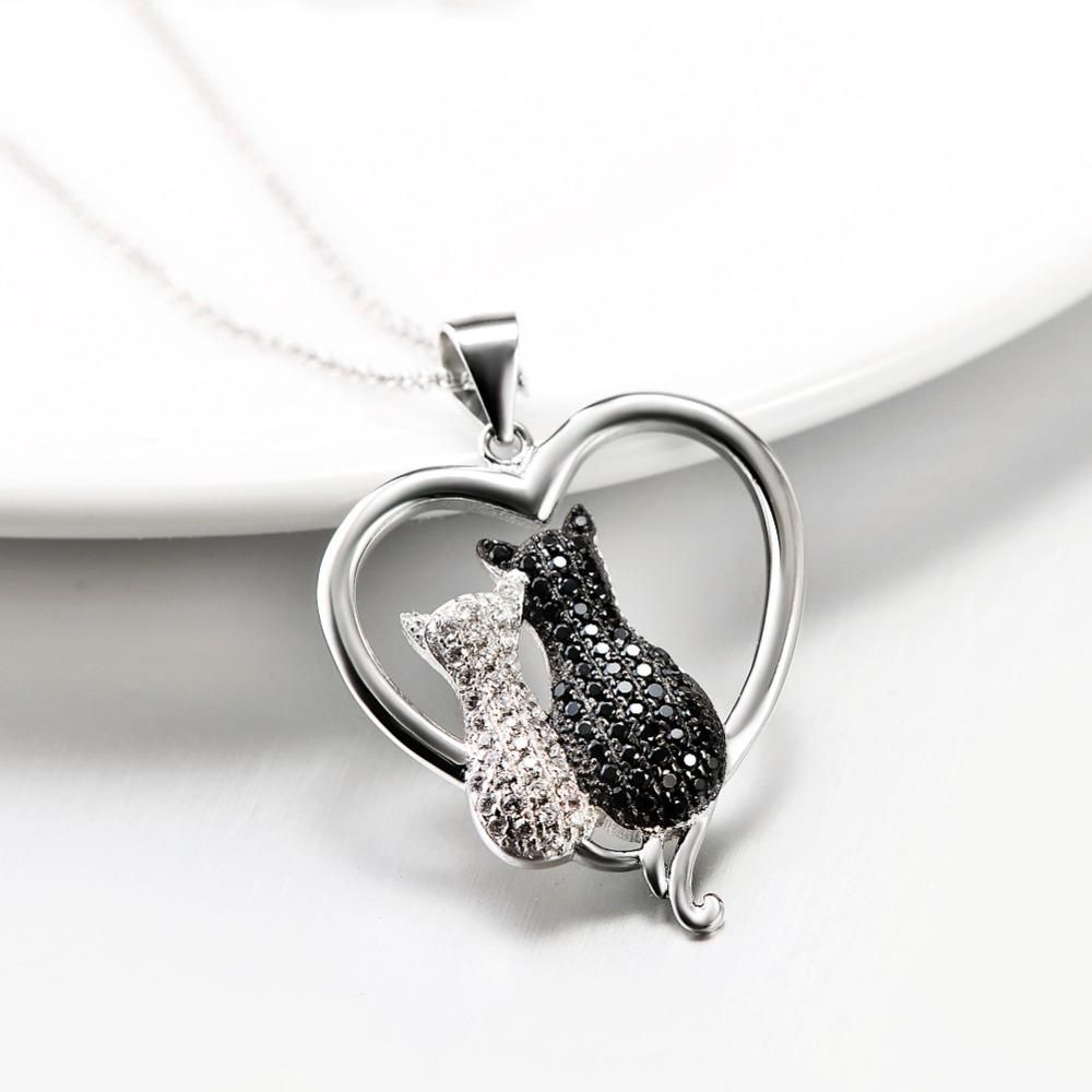 sterling silver crystal black white cat pendant necklace products