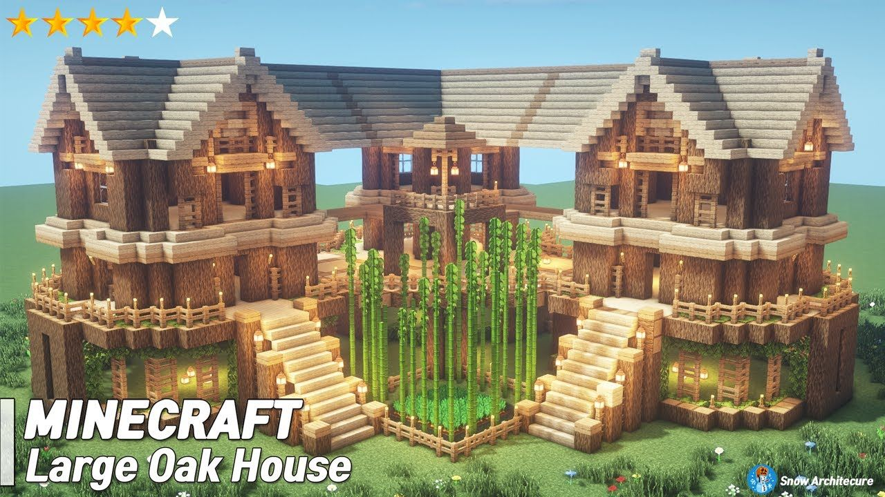 Easy Minecraft Large Oak House Tutorial How To Build A Survival House In Minecraft 37 Vozeli Com