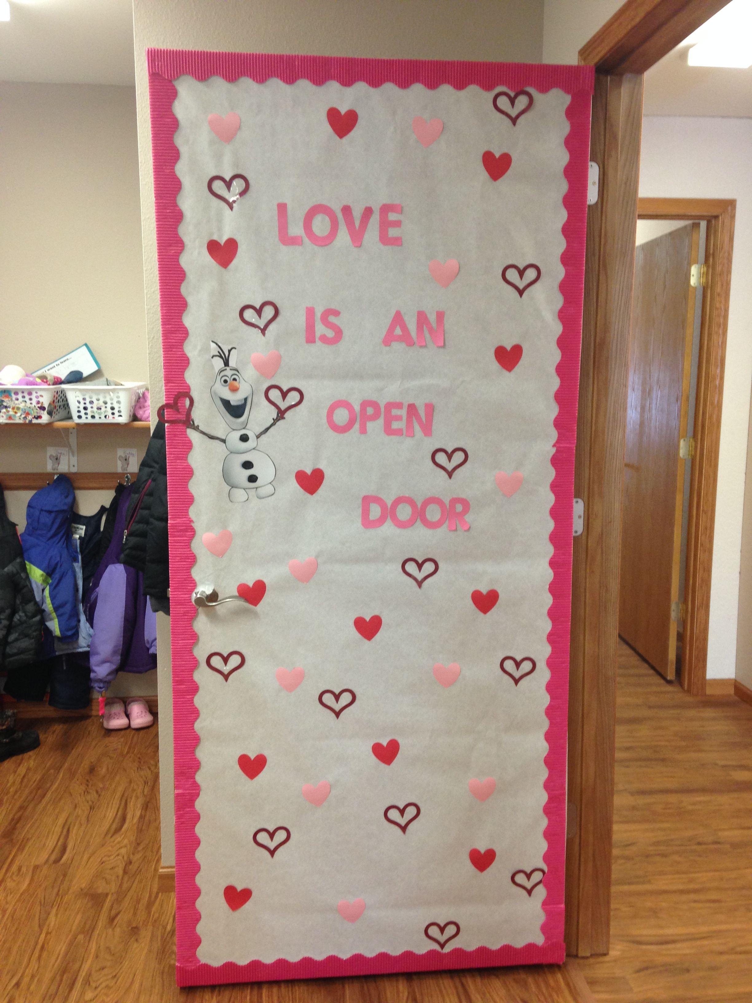 Love In An Open Door #preschool #classroomdecorations #olaf #frozen  #bulletinboard #