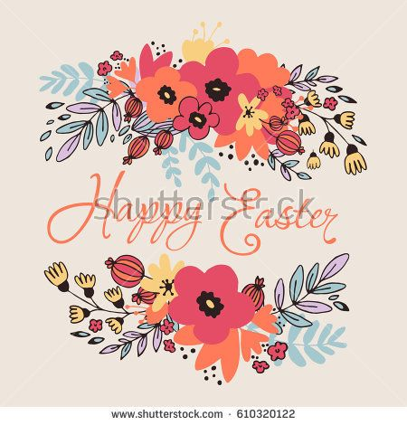 Happy Easter Floral Card with leaves and fantasy flowers. Vector illustration