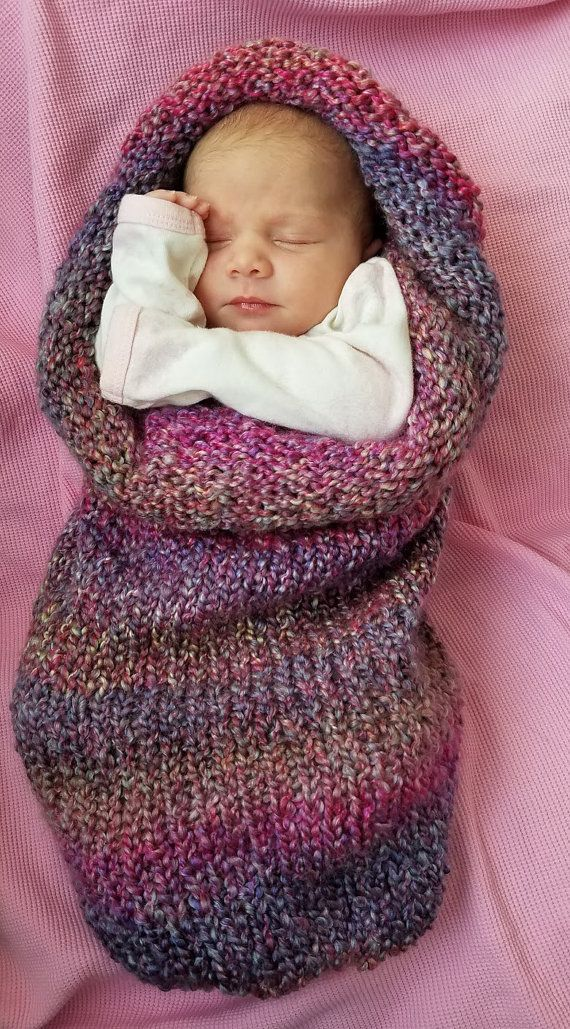 Knitted Newborn Baby Cocoon, Baby Swaddle Blanket, Newborn Photo ...