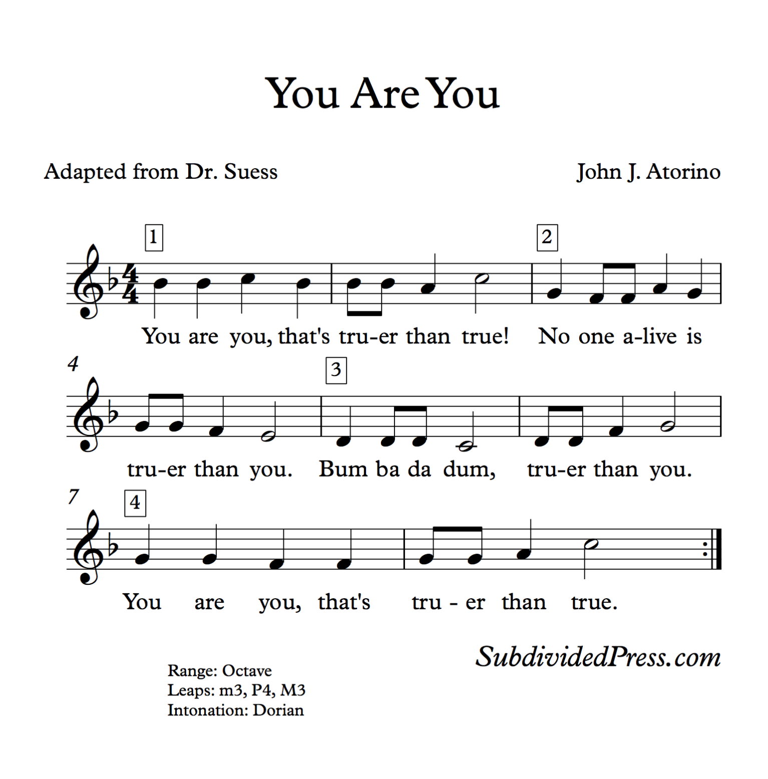 Dr Suess Choral Round For Teaching Singing Classroom Warm