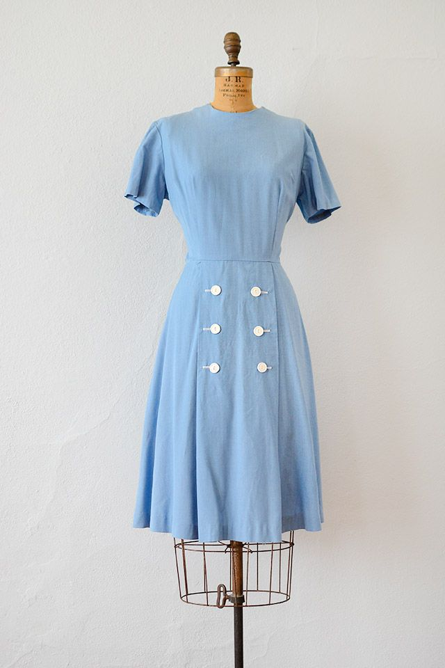 1940s Fashions In Red White Blue With Images: Vintage 1940s Sky Blue Cotton Dress With Buttons