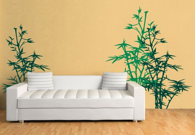 bamboo plant wall sticker art outer space decal for nursery home ...