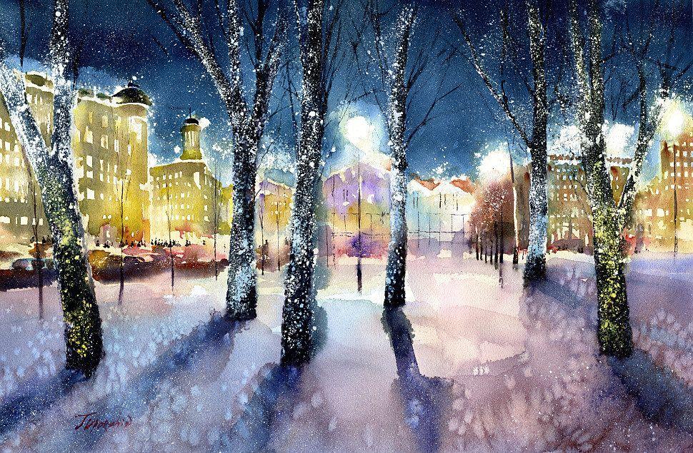 вечерний зимний город картинки нарисовать обставленные мебелью