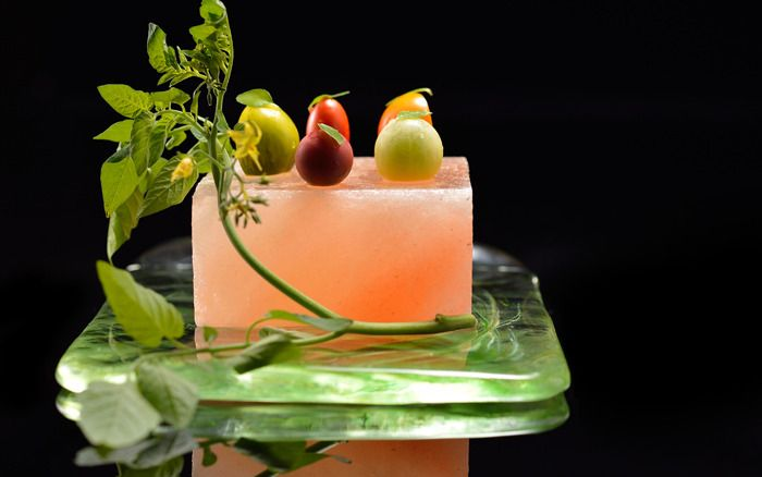 """Salted Tomatoes"" This molecular gastronomy dish is a creation of chef Yoshiaki Takazawa at his restaurant Aronia de Takazawa in Tokyo, Japan. #plating #presentation"