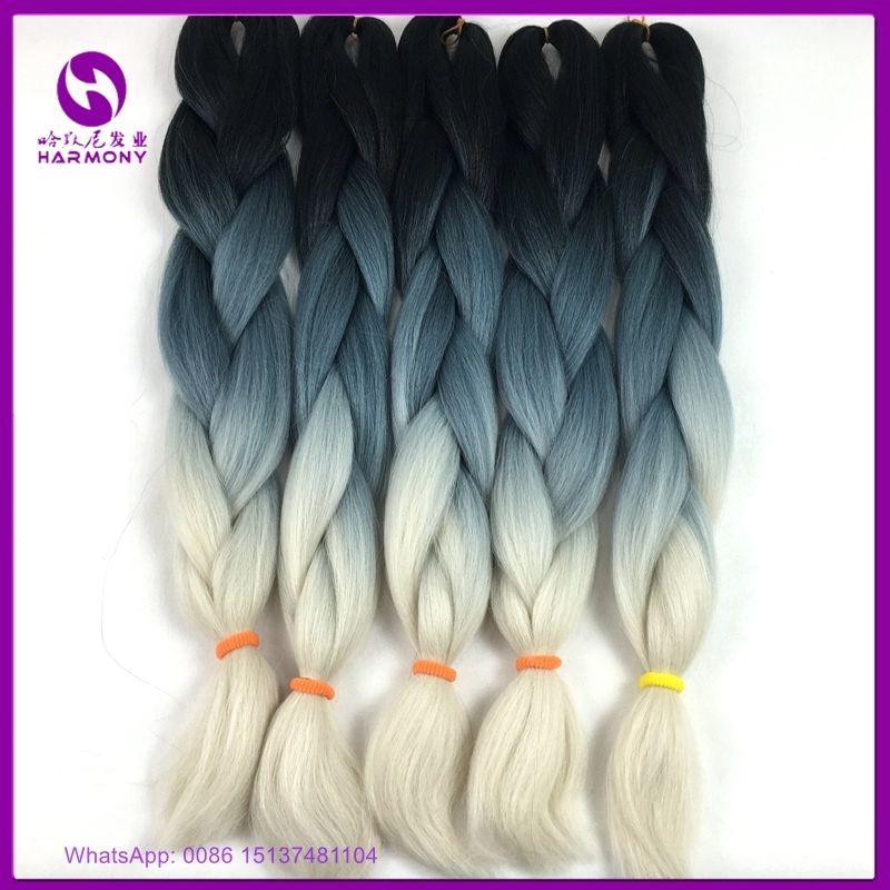 24 100g 10packs 3 Tone Ombre Braiding Hair Synthetic Jumbo Braid