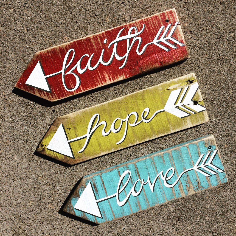 Custom Arrow Pallet Signs - Faith, Hope, Love   crafts   Pinterest ...