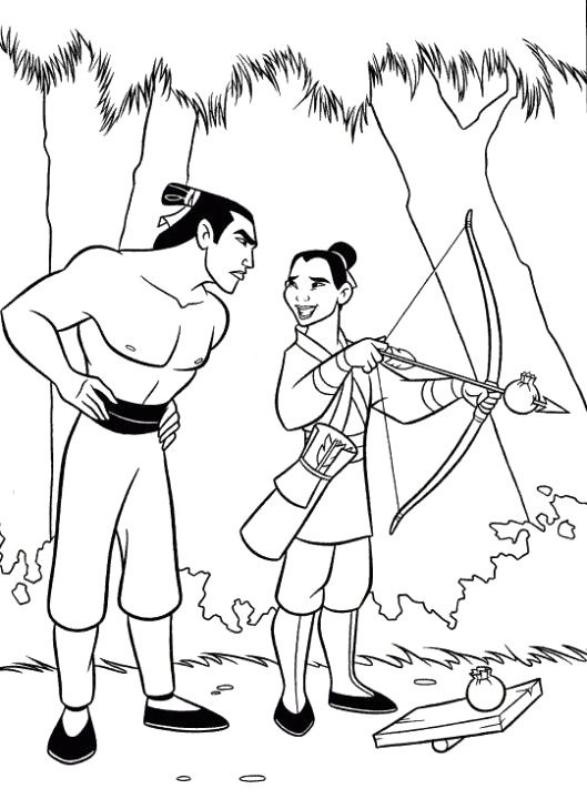 Mulan Learning Archery Coloring Pages - Mulan cartoon coloring pages ...