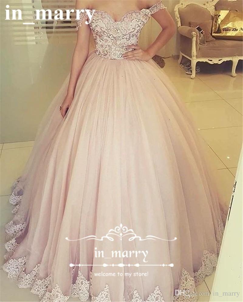 Blush Pink Off Shoulder Ball Gown Prom Dresses 2017 Vintage ...