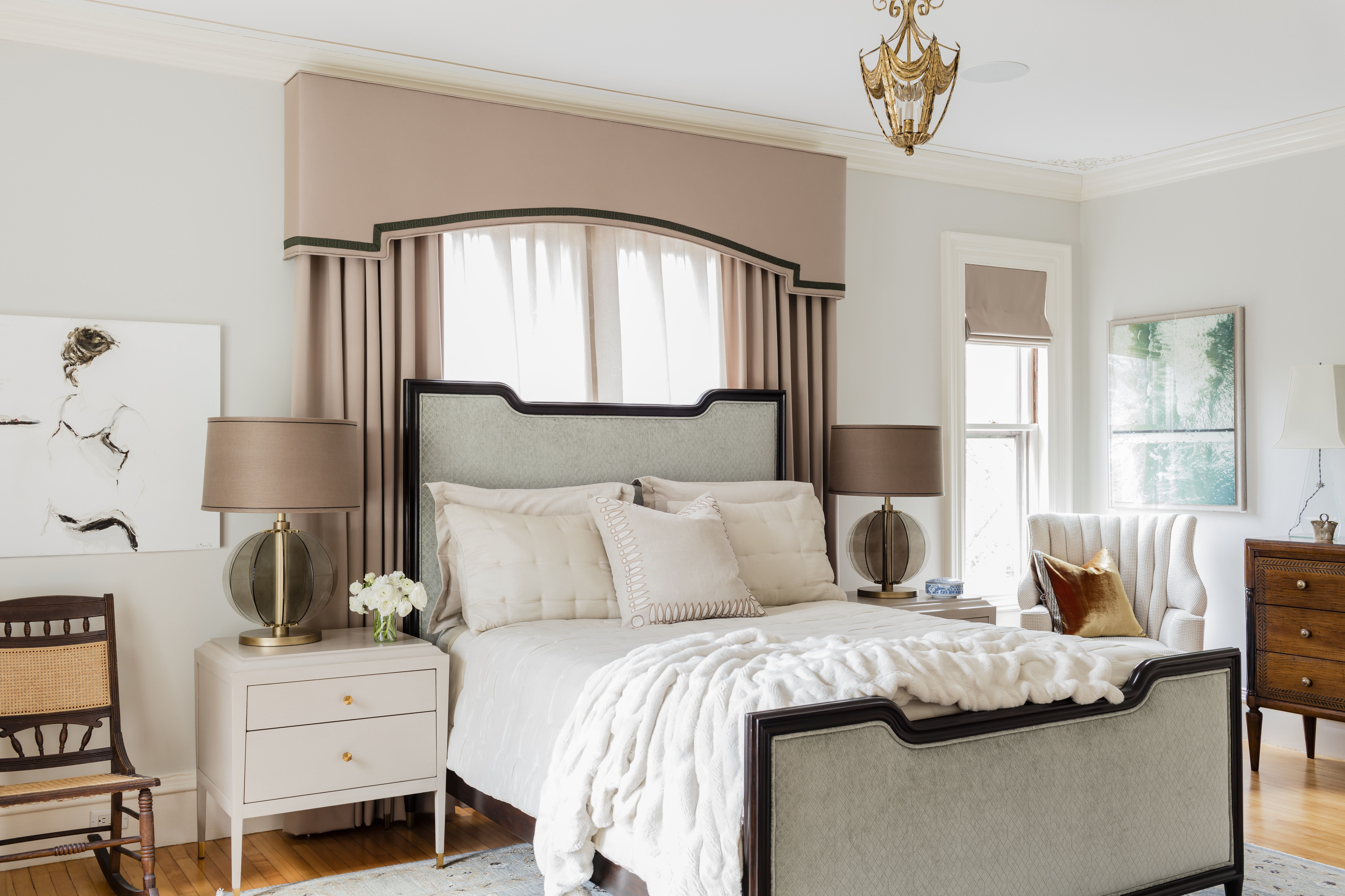 Upholstered Bed With Wood Trim Blush Valance By Kmid Kate Maloney