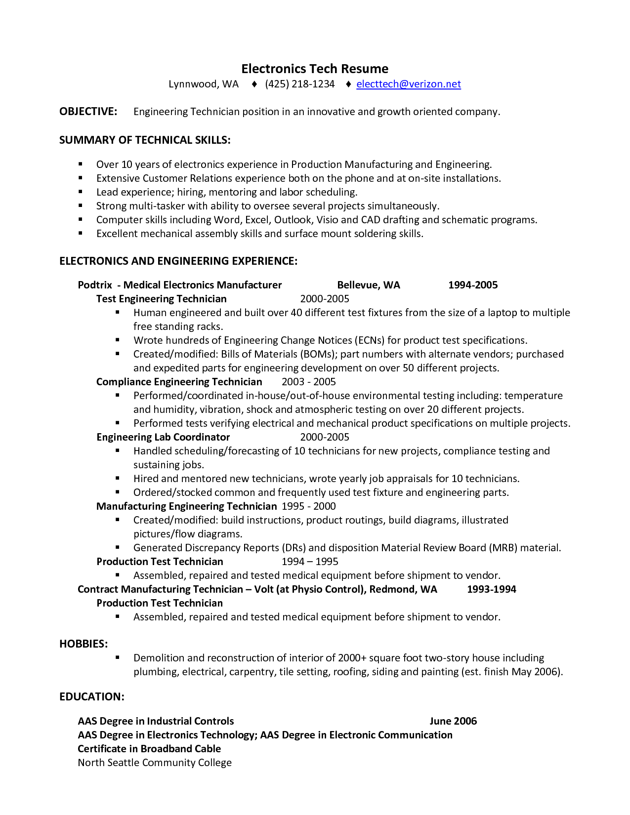 Electronic Assembly Resume