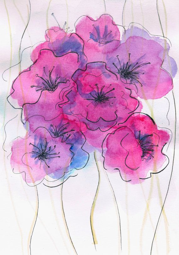 Flower Watercolor Painting Abstract Pink Flowers Purple On Etsy