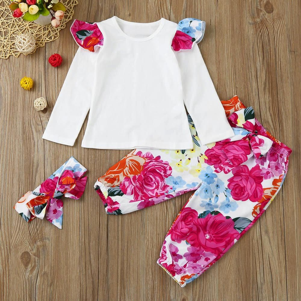Floral Ruffle Shoulder Top + Pants + Headband | Products
