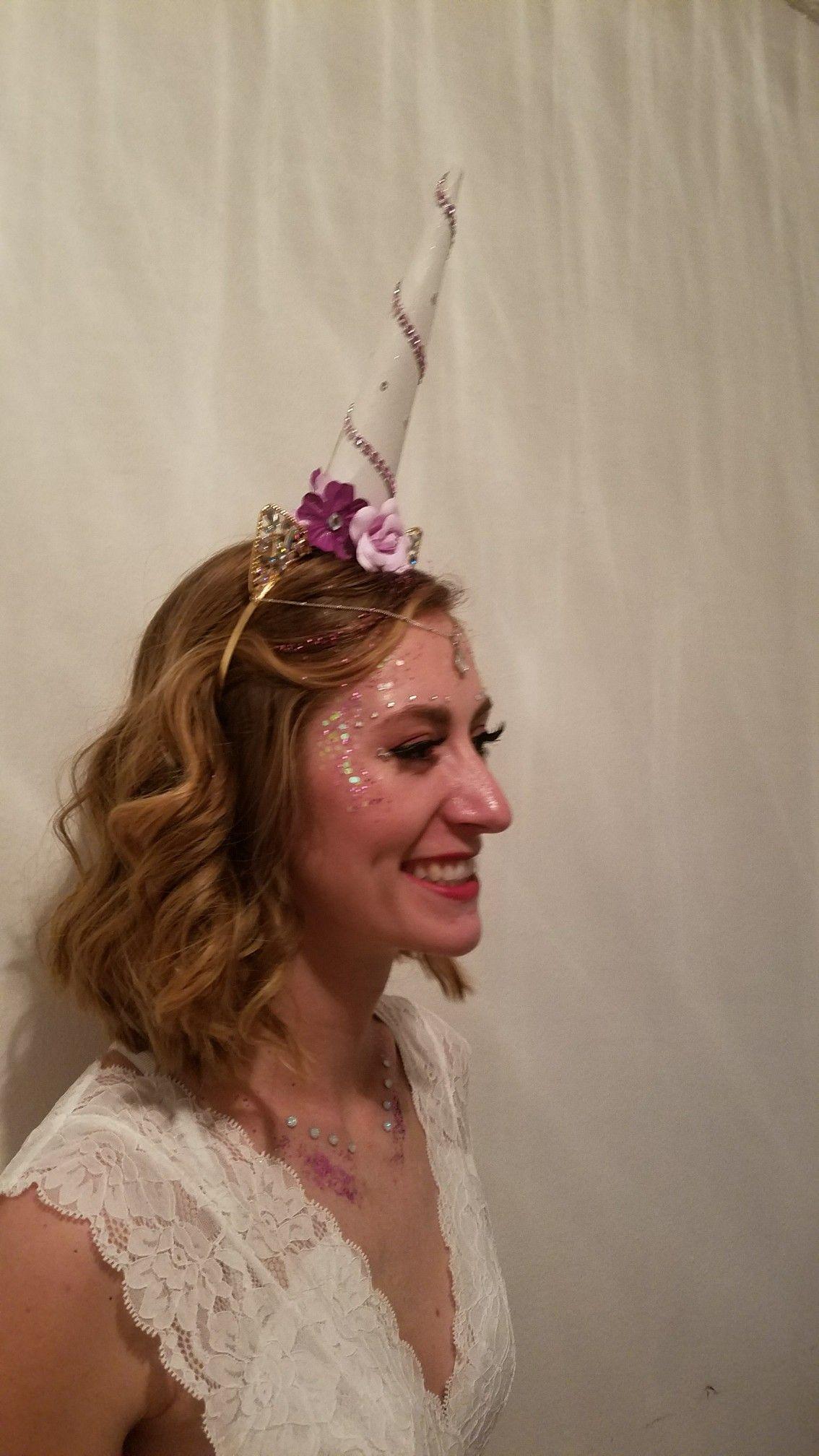 Homemade unicorn horn and headpiece for Halloween!