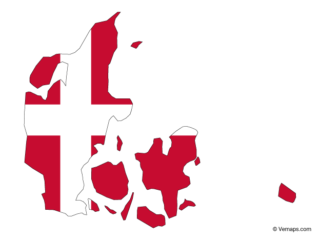 Flag Map Of Denmark Free Vector Maps Denmark Map Map Vector Denmark Flag