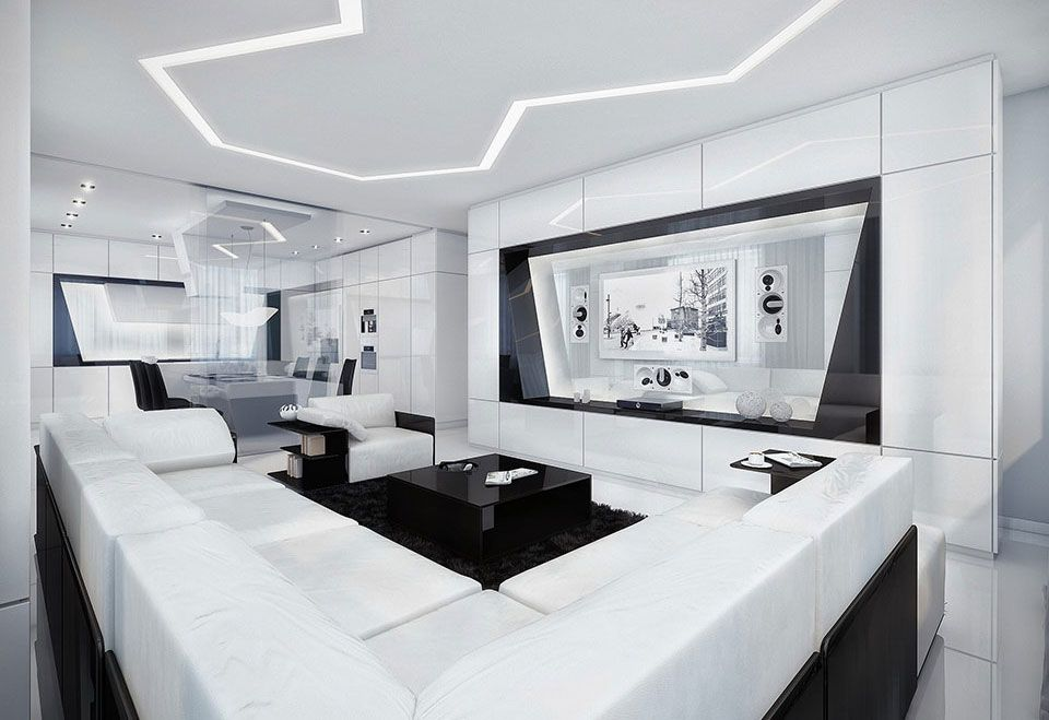 20 Wonderful Black and White Contemporary Living Room ...