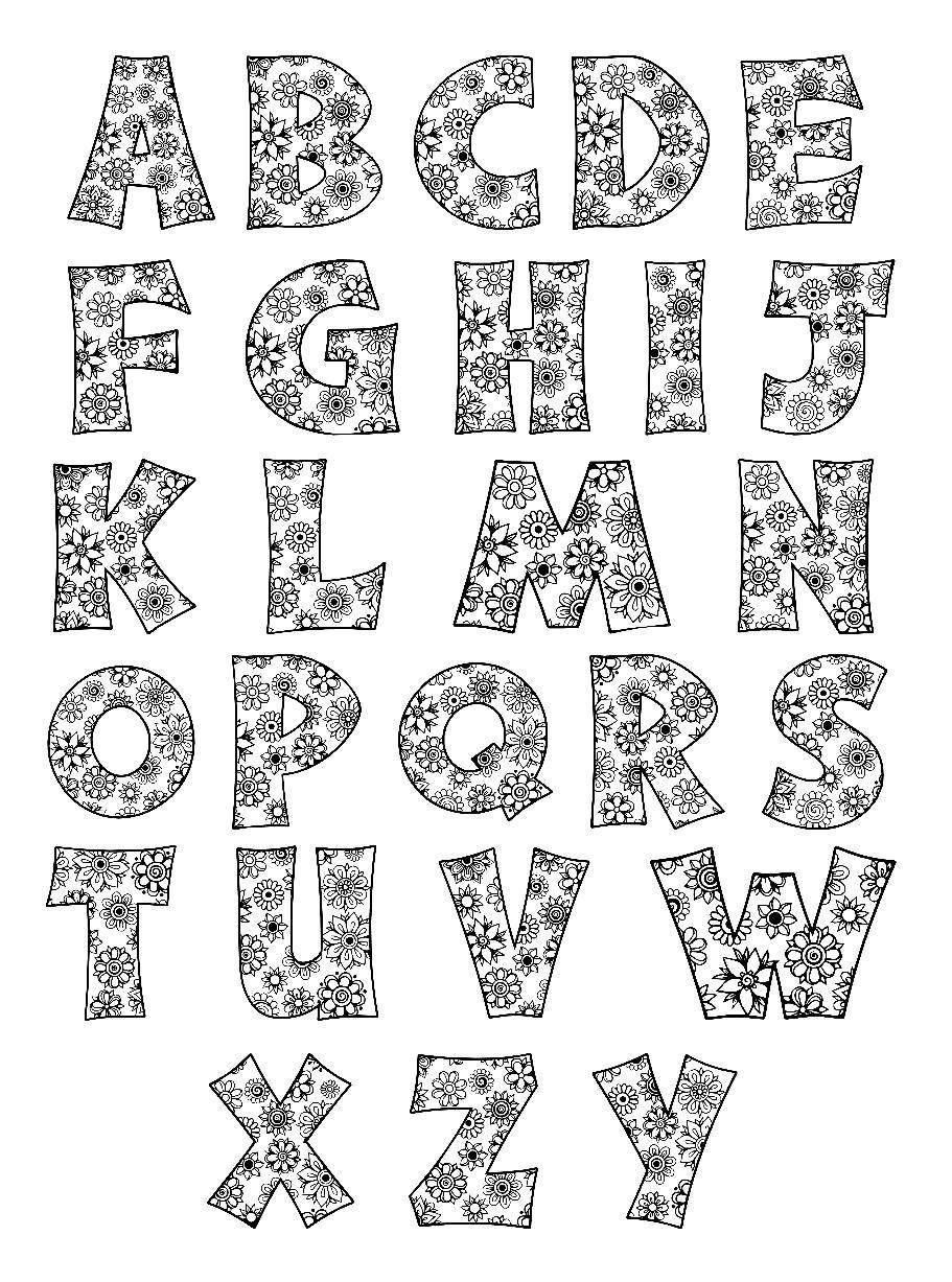 Alphabet Flowers Svg Jpeg Png Pdf Use With Silhouette
