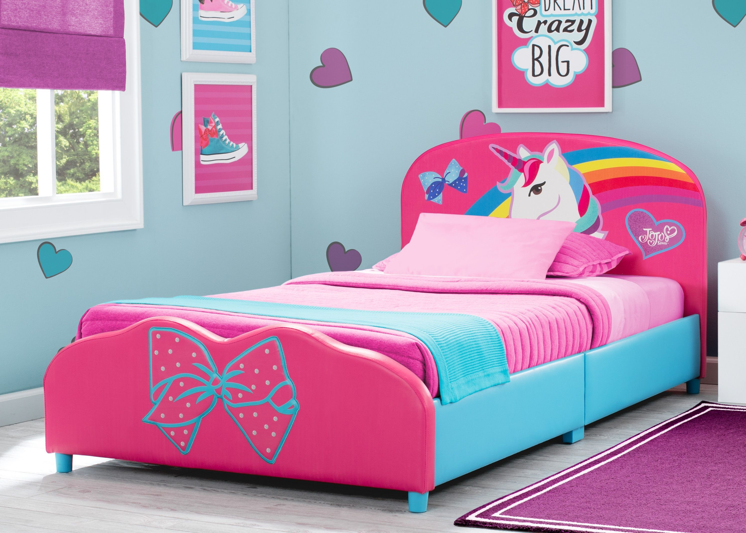 Delta Children Jojo Siwa Upholstered Twin Bed Pink Leather In