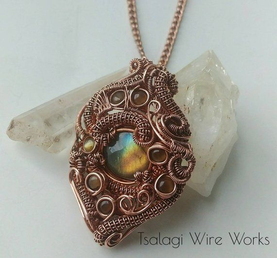 OOAK Flashy Labradorite and Brown Cat Eye Stone Copper Wire Wrapped Pendant Necklace Boho Jewelry - Colorful Jewelry and Jewelry Making Supplies -