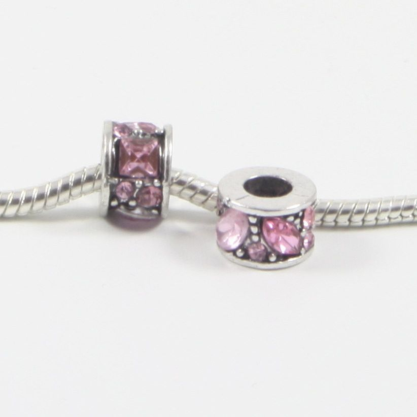 1 PC Pink Barrel Rhinestone Antique Silver Plated Zinc Alloy European Bead Charm Fits Bracelet E0657
