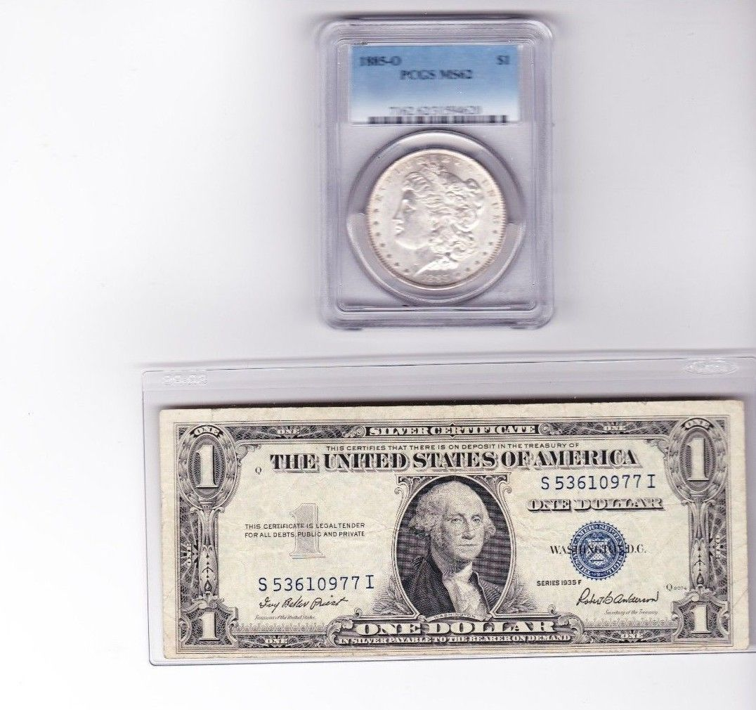 1885 O Silver Dollar Pcgs Ms 62 1935 F 1 Silver Certificate Note