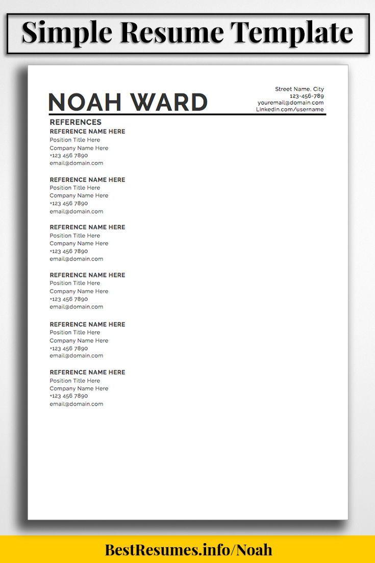 Resume Templates In Ms Word Resume Template Noah Ward  Simple Resume Template Microsoft Word .