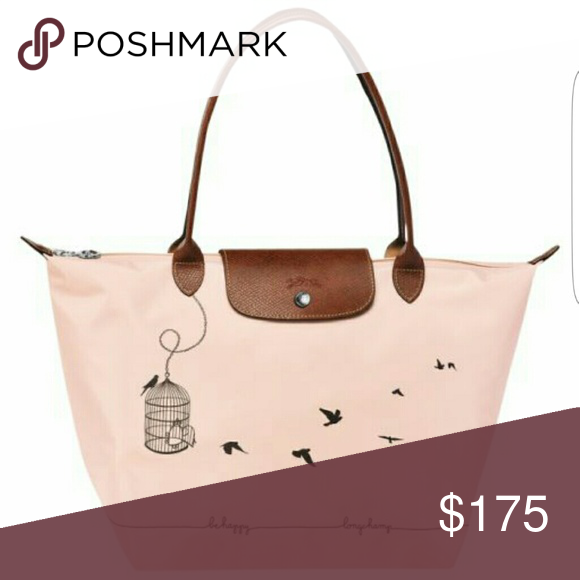 Longchamp -- Le Pliage Bird Cage Shoulder Tote Brand new with tag, never  been used. Color is Light Pink. Large size tote. Longchamp Bags Shoulder  Bags 3c7feb98ab