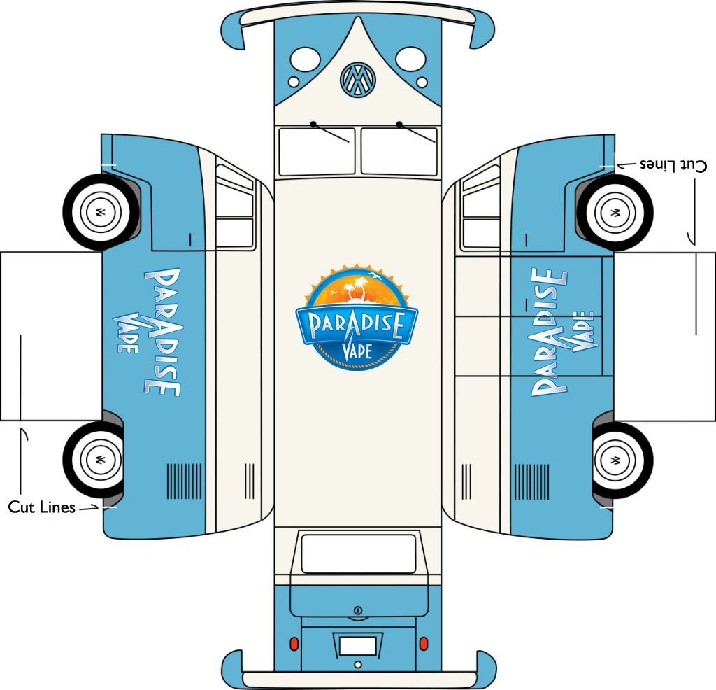 Paradise Vape Print Cut Fold Vw Bus Promo Enjoy A Little Bit Of Subaru Kes Diagram Amp