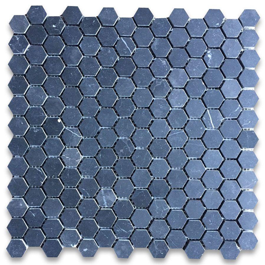 Nero Marquina Black Marble 1 Inch Hexagon Mosaic Tile Honed Hexagonal Mosaic Hexagon Mosaic Tile Mosaic Tiles