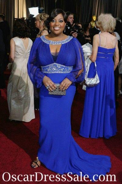 Long Sleeves Chiffon Sherri Shepherd Royal Blue Evening Dress Plus